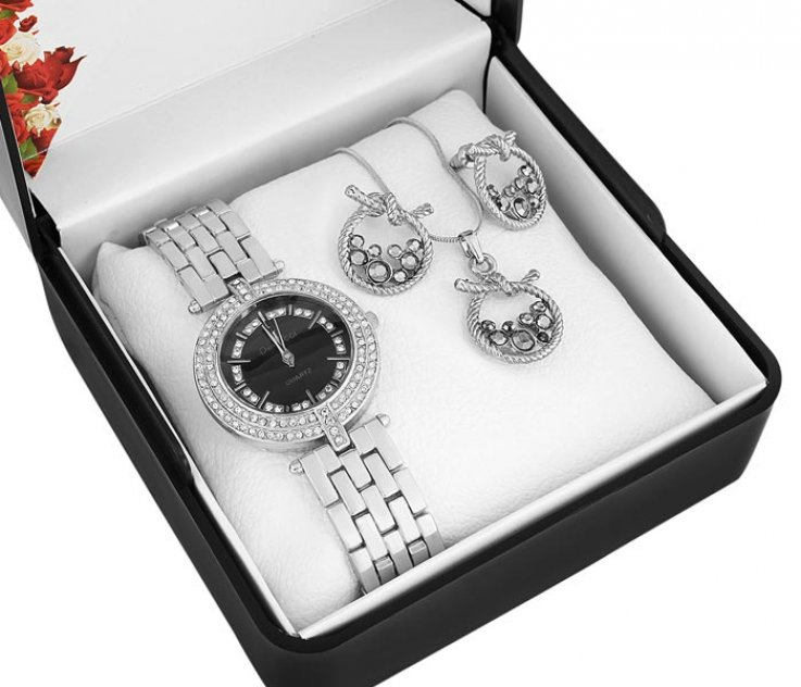 Denacci Women's Watch gift set: Watch, Necklace, Earrings Silver -color Gem ap1488