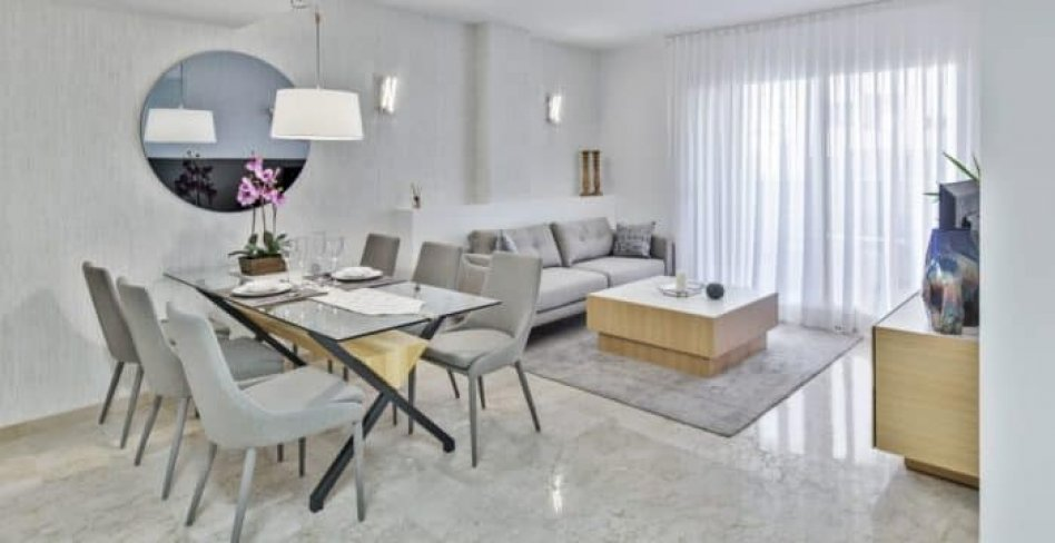 Propose for sale wonderfull apartments of complex on first line Orihuela Costa beach in Costa Blanca Spain.