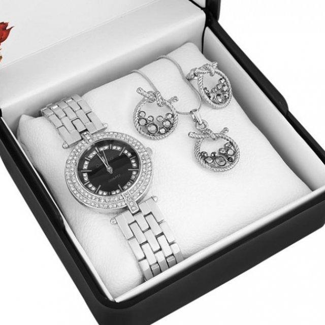 Denacci Women's Watch gift set: Watch, Necklace, Earrings Silver -color Gem ap1488