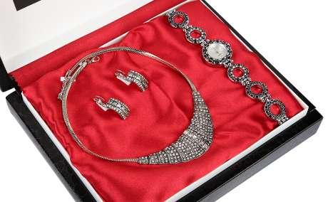 Denacci Women's Watch gift set: Watch, Necklace, Earrings Silver Multi-color Gem ap1638