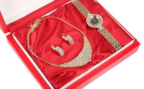 Denacci Women's Watch gift set: Watch, Necklace, Earrings Gold Multi-color Gem ap1639