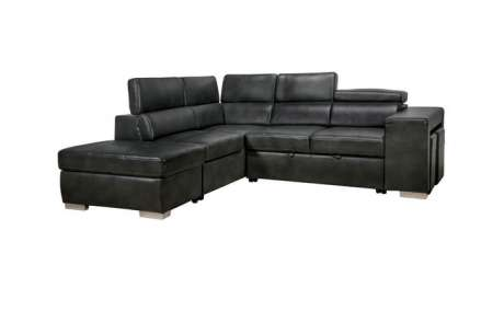 Positano 3pc Leather Gel Sectional in Black 4081